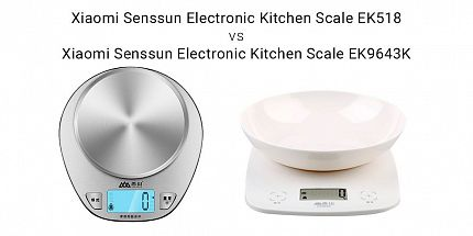Сравнение кухонных весов от Xaomi: Senssun Electronic Kitchen Scale EK518 vs Senssun Electronic Kitchen Scale EK9643K